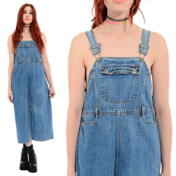 Vintage 90s Denim BIB OVERALLS Grunge Schoolgirl Pinafore Jumper Jean Midi Dress #Unbranded #JumperDress #Casual
