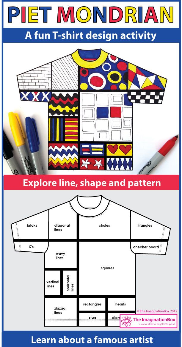 These abstract printable Mondrian coloring pages provide the ideal famous artist art lesson for kids to do in the classroom. These creative, Mondrian T-shirt templates help children explore primary colors, shape, line and pattern elements in a fun, experimental way. The finished artworks make super classroom displays and decorations for the bulletin board. Click on the link to view and download this easy to use, print and go activity pack.