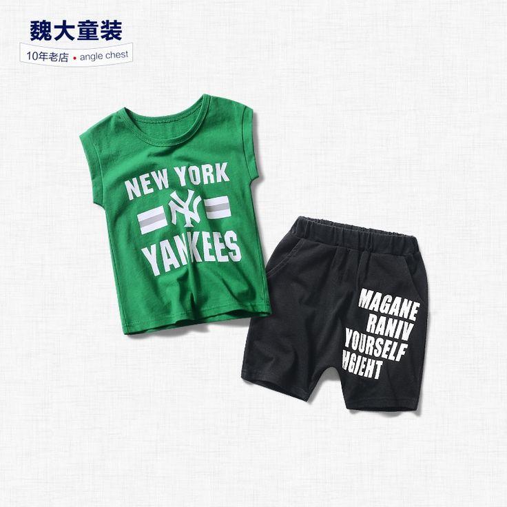22.28$  Watch now - http://ali9yn.shopchina.info/go.php?t=32811168001 -  sleeveless suit, two piece suit, 2017 children's wear, new sleeveless T shirt, shorts suit, children's summer suit men  #buyininternet