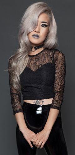 Lip Service Black Lace Crop Top Shirt