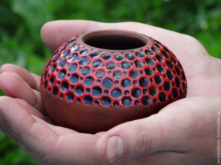 """Купить Калабас """"Сладкий гранат"""". - разноцветный, калабас, матэ, зеленый чай, керамика ручной работы"""
