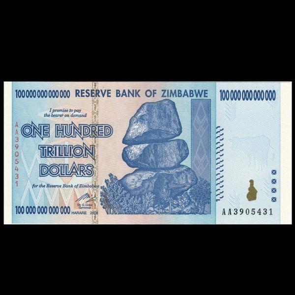 Zimbabwe 100 Trillion Dollar Banknote, 2008, Uncirculated - BuyHistory.com - £25