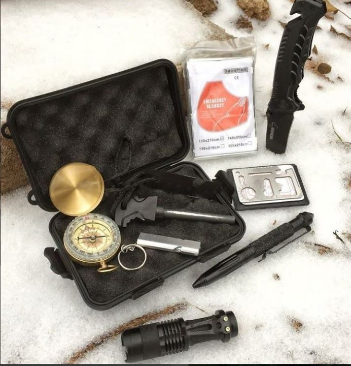 Awesome Emergency Survival Kit on sale for $26 with free Amazon Prime members shipping.  Condition: Brand New Kit contains: Tactical Pen, Professional Knife, Compass, Whistle, Flint and Steel Fire Starter, Multi-Functional Saber Card, Flashlight and Emergency Blanket. If you don't have an Amazon account, I accept PayPal with +$4 US standard shipping. #outdoors, #campinggear, #fishinggear, #ClimbingGear