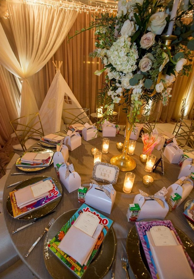 indoor wedding ideas children's table design coloring books party favors