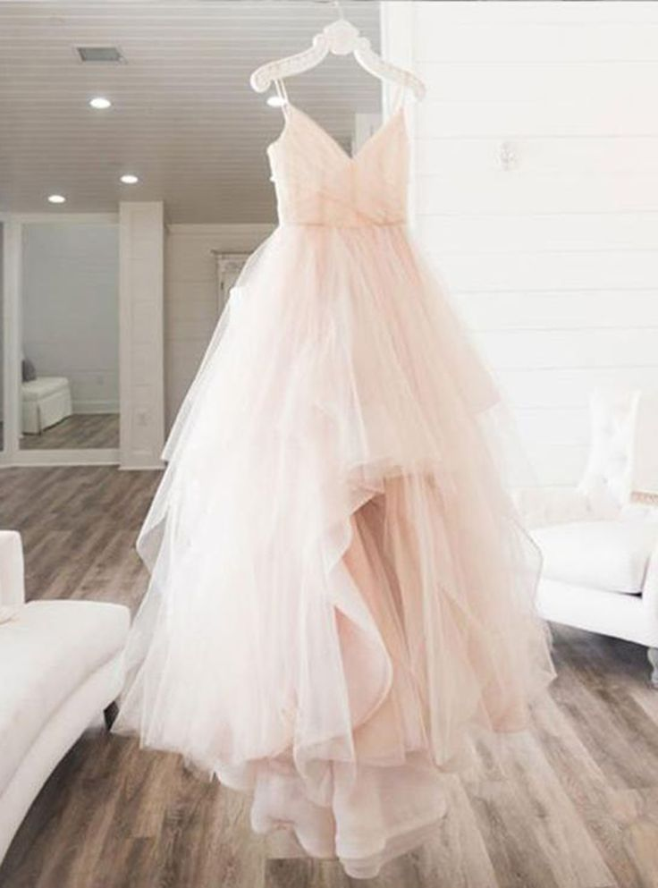 Blush pink tulle V neck long prom dress, long 2018 evening dress from Sweetheart Dress