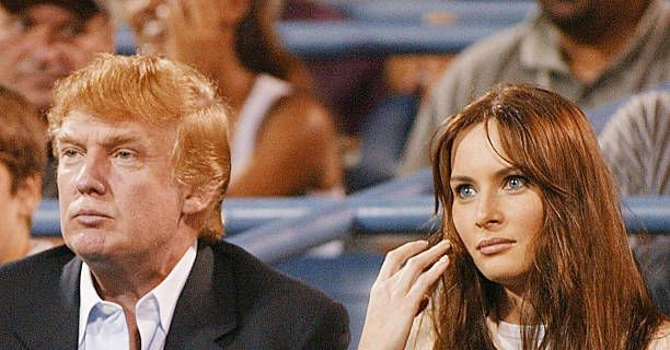 Donald Trump and his girlfriend Melania Knauss are shown in this 03 September 2002 file photo as they watch Andy Roddick of the US play Juan Ignacio...