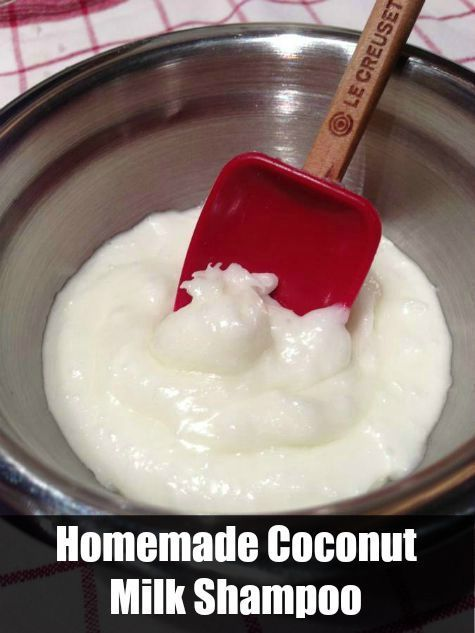 This is a recipe for homemade coconut milk shampoo. I definitely want to give this a try. I have always love the smell and taste of coconut milk, so why no