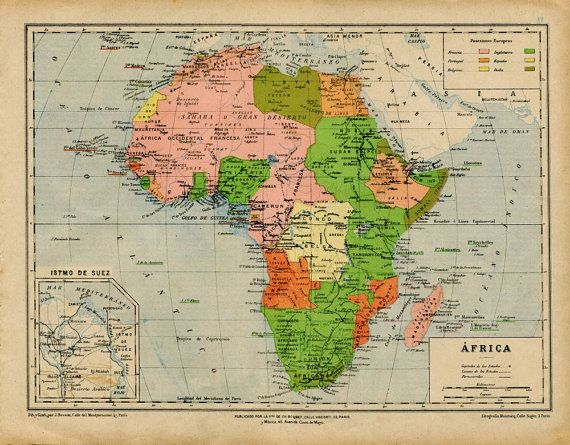 1905 Vintage Map of Colonial Africa Political by CarambasVintage