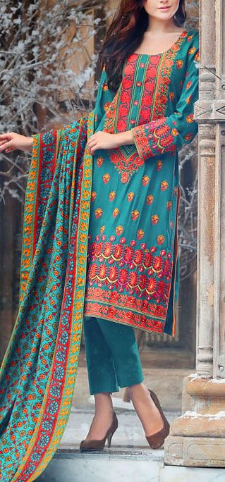 Buy Teal Green Embroidered Linen A-line Dress by LSM 2015 Call: (702) 751-3523 Email: Info@PakRobe.com www.pakrobe.com #WINTER_SALWAR_KAMEEZ https://www.pakrobe.com/Women/Clothing/Buy-Winter-Salwar-Kameez-Online