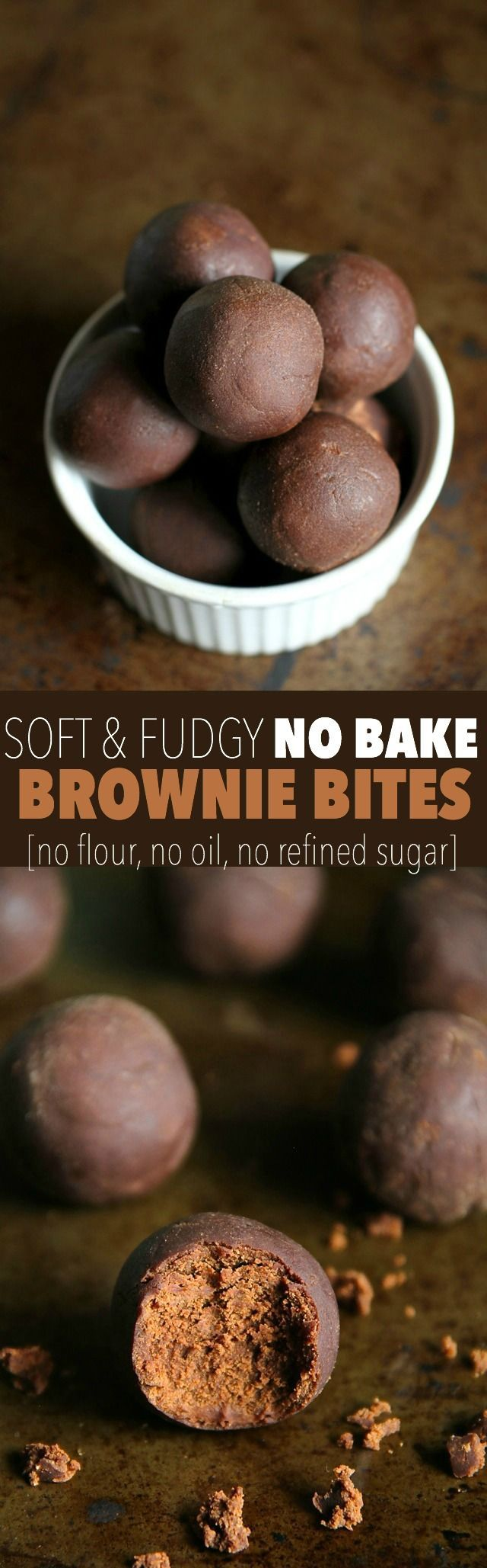 No Bake Brownie Bites -- these soft and fudgy bites taste just like a batch of soft-baked brownies, but are made without flour, oil, eggs, or refined sugar! || runningwithspoons.com #chocolate #brownies #vegan #glutenfree #snack
