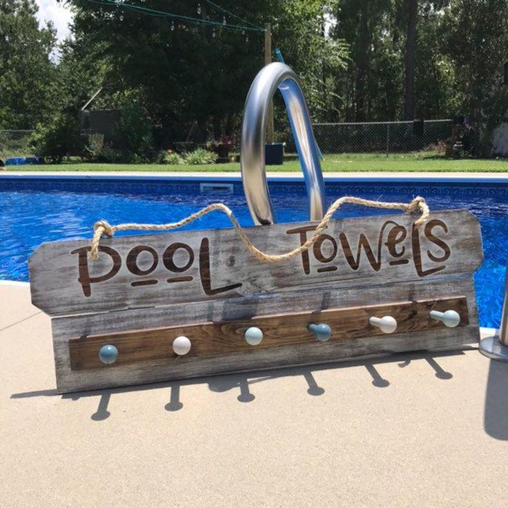 Towel Rack Custom Sign Beach Towel Rack with Towel Hooks