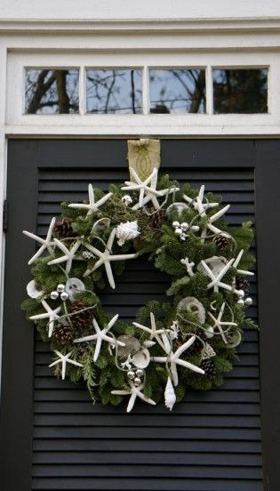 """Think I am gonna get a real wreath this year and decorate it """"beachy""""!"""