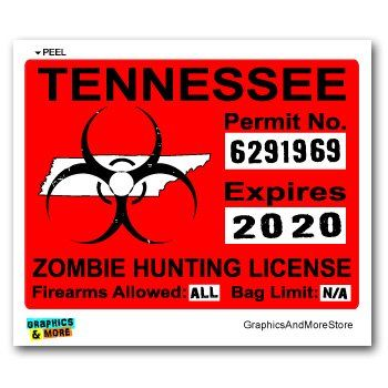Tennessee tn zombie hunting license permit red biohazard for Tn fishing license online