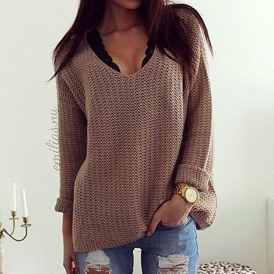 Knitted Heavy Long Sleeve Sweater