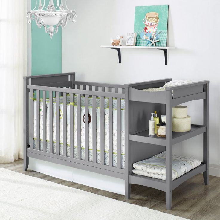 Baby Relax Emma 2-in-1 Convertible Crib and Changing Table Combo - Gray - DA6790