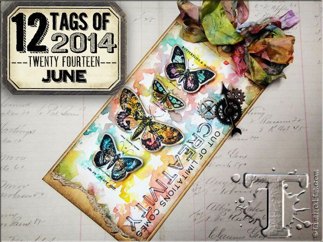 June's tag of 2014 features printing technique with layering stencils. supplies: mini distress ink pads, mini ink blending tool, distress watercolor cardstock, archival ink, detailer waterbrush, heat tool, craft sheet, mister, #8 manila tag, layering stencils/star, stamp & framelits/french flight, stamps/cms182, vagabond, magnetic cutting pad, mini gears, game spinners, mini fasteners, crinkle ribbon, foam tape