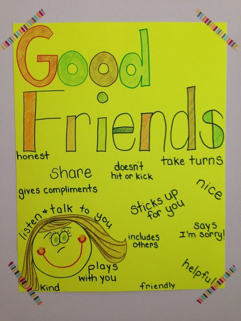 How to be a good friend anchor chart.  More ideas for teaching friendship on the blog post.