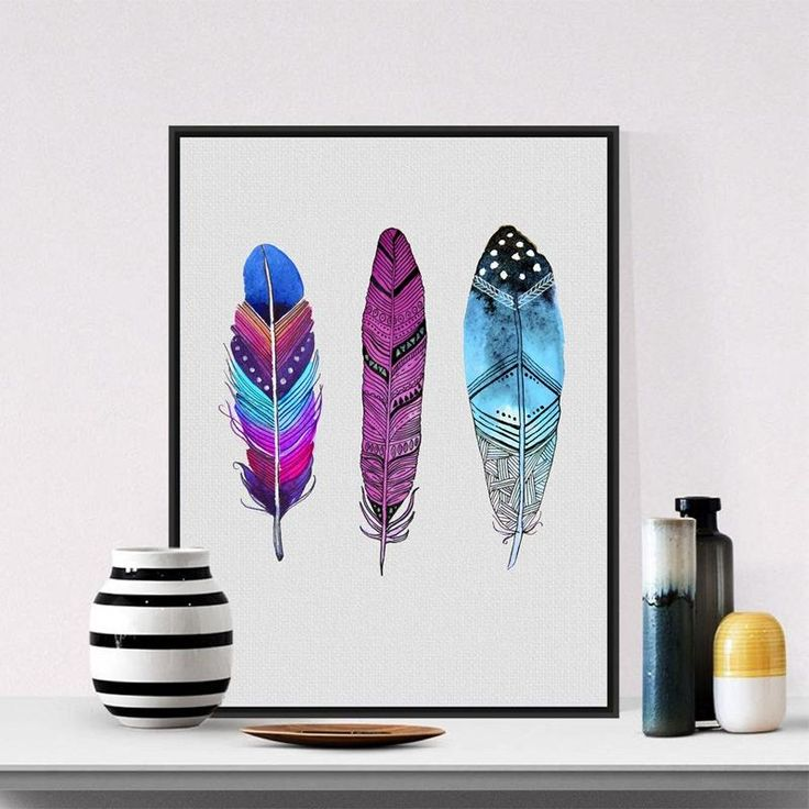 Colorful feather decoration for a Boho styled house!  -Canvas