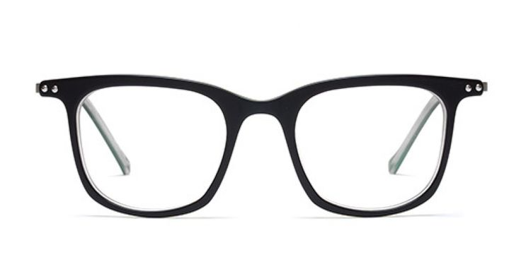 SHALLOW WATERS I Casual and lightweight look. Black acetate front with tobacco reverse. Thin silver metal temple.