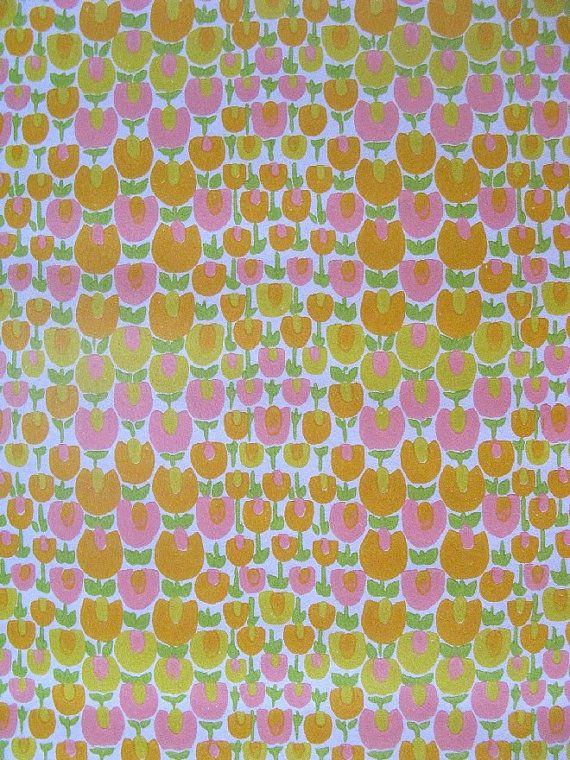 vintage wallpaper - field of tulips - per full yard