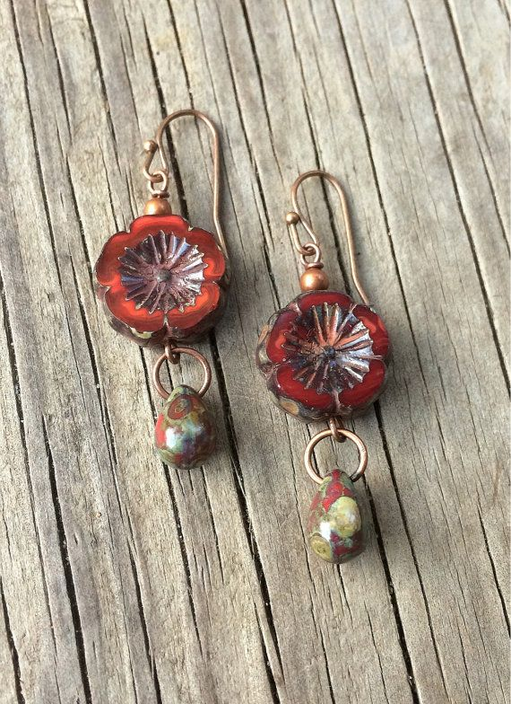 "Boho Jewelry, Red Earrings, Copper Earrings, Red Jewelry- Rustic red Czech glass flowers with small red Picasso teardrops. Approx 1.5"" in length, very light weight."