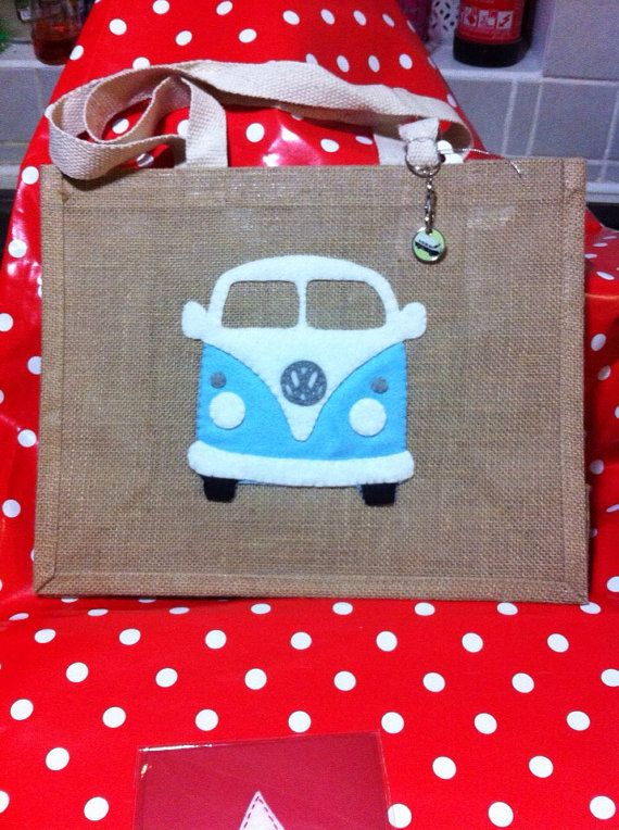 Blue VW Campervan Hessian shopping bag  P&P  included in the price