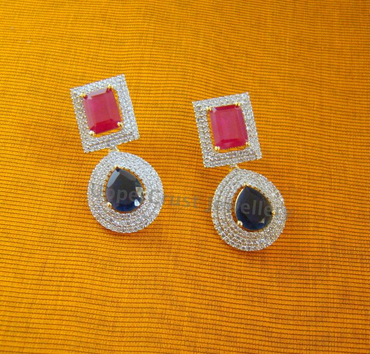 Ruby Sapphire Earrings
