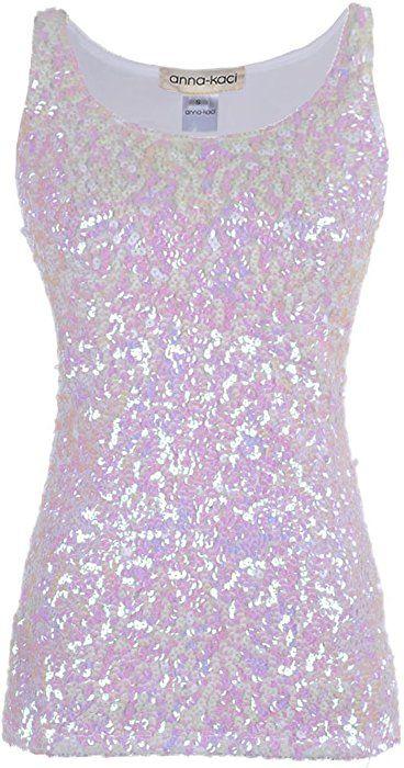 e3f8b124bc Amazon.com: Anna-Kaci Womens Sparkle & Shine Glitter Sequin Embellished  Sleeveless Round Neck Tank Top, Rose Gold, X-Large: Clothing