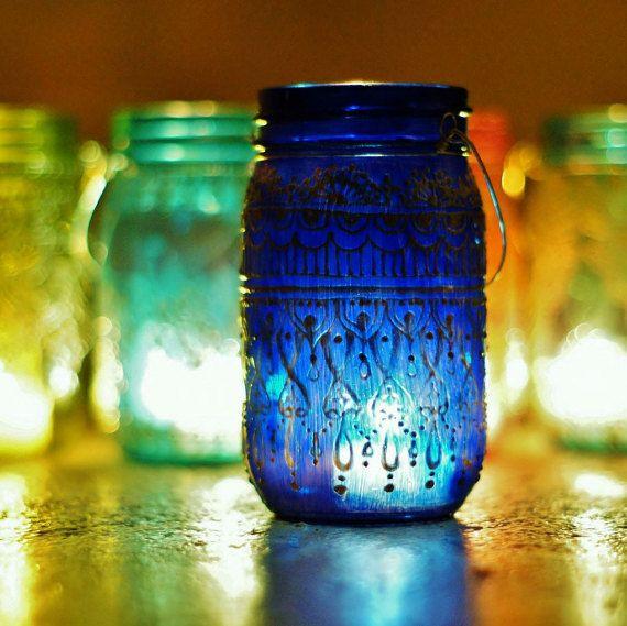 Summer Outdoor Decor Hanging Mason Jar Lantern Cobalt by LITdecor