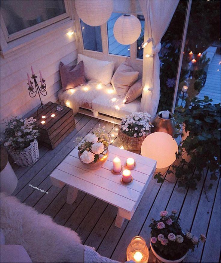 groß Romantische Beleuchtung für intime Abende auf der Terrasse • (★) • Balkon⚜️T⚜️rracɛ Dekor • (★) •