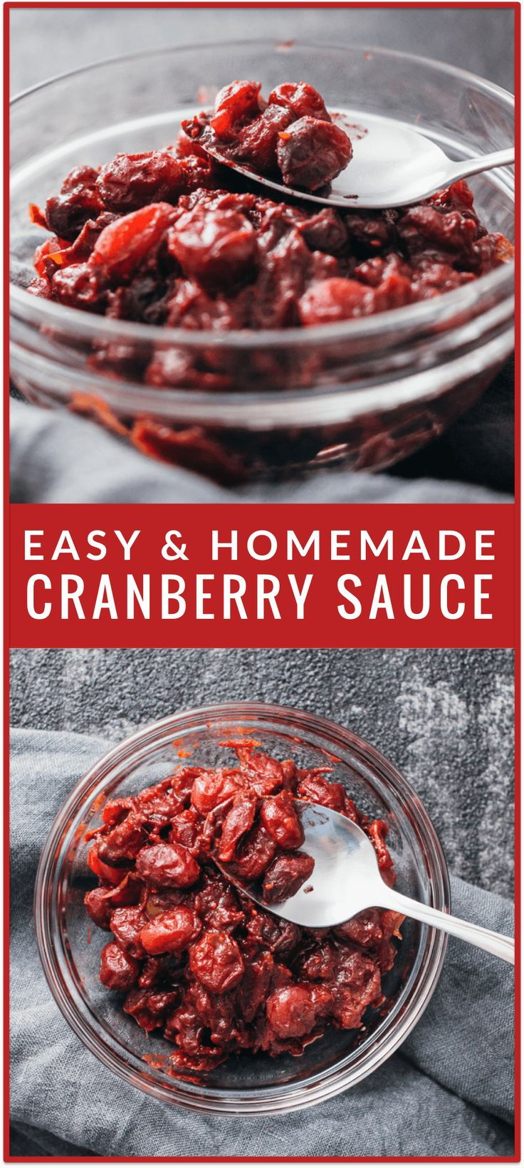 Easy homemade cranberry sauce - Today I'm sharing a wonderful family recipe for cranberry sauce! This is a healthy cinnamon-rich cranberry sauce sweetened using medjool dates with no added sugar. It's very easy to make this at home (one-pot recipe done in