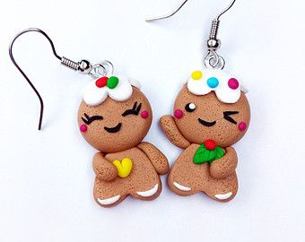 Snowman and snowflake Earrings Christmas Handmade by MagieCraft