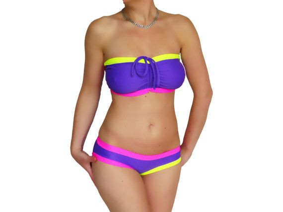 Purple colorful swimsuit swimwear custom plus size bandeau bikini