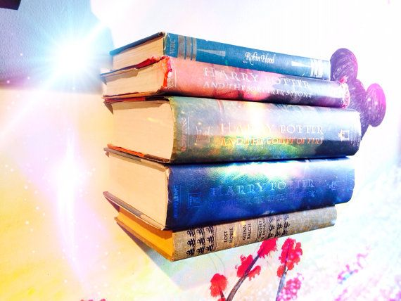 Floating Book Shelf with RANDOM Books by LanchensDesigns on Etsy, $12.00