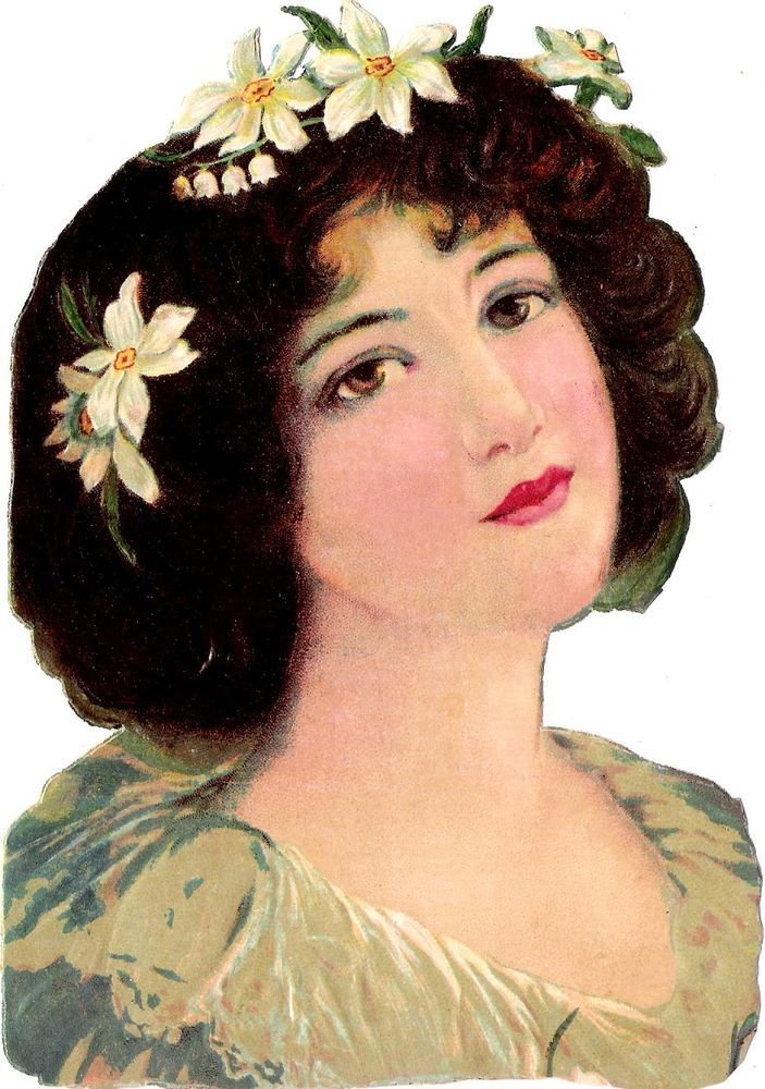 Oblaten Glanzbild scrap die cut chromo  Lady Dame 17cm  head Portrait