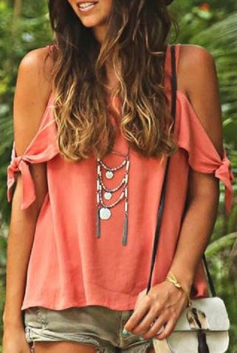 Love this Top! Coral Pink Sweet Spaghetti Strap Solid Color Cut Out Blouse For Women #Coral #Pink #Beach #Top