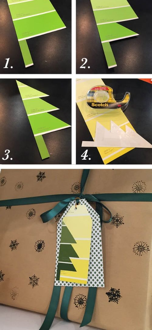 Easy DIY Paint Chip Christmas Gift Tags with Step by Step instructions from Weekend Craft