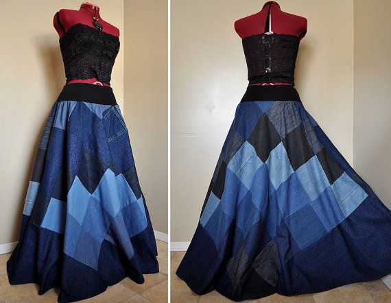 Mad for Blues Long Patchwork Denim Skirt Ooak by BarefootModiste