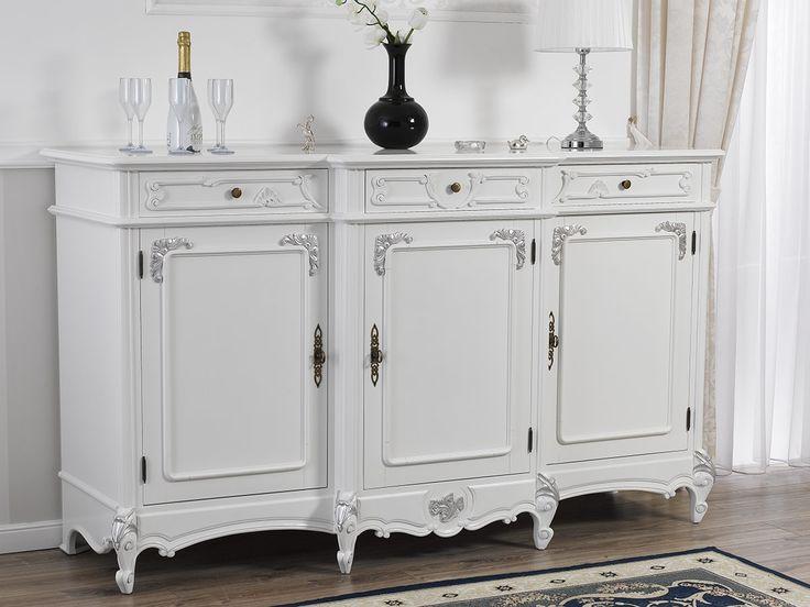 Credenza buffet servante Barocco Moderno bianco laccato particolari foglia argento 3 ante 3 cassetti