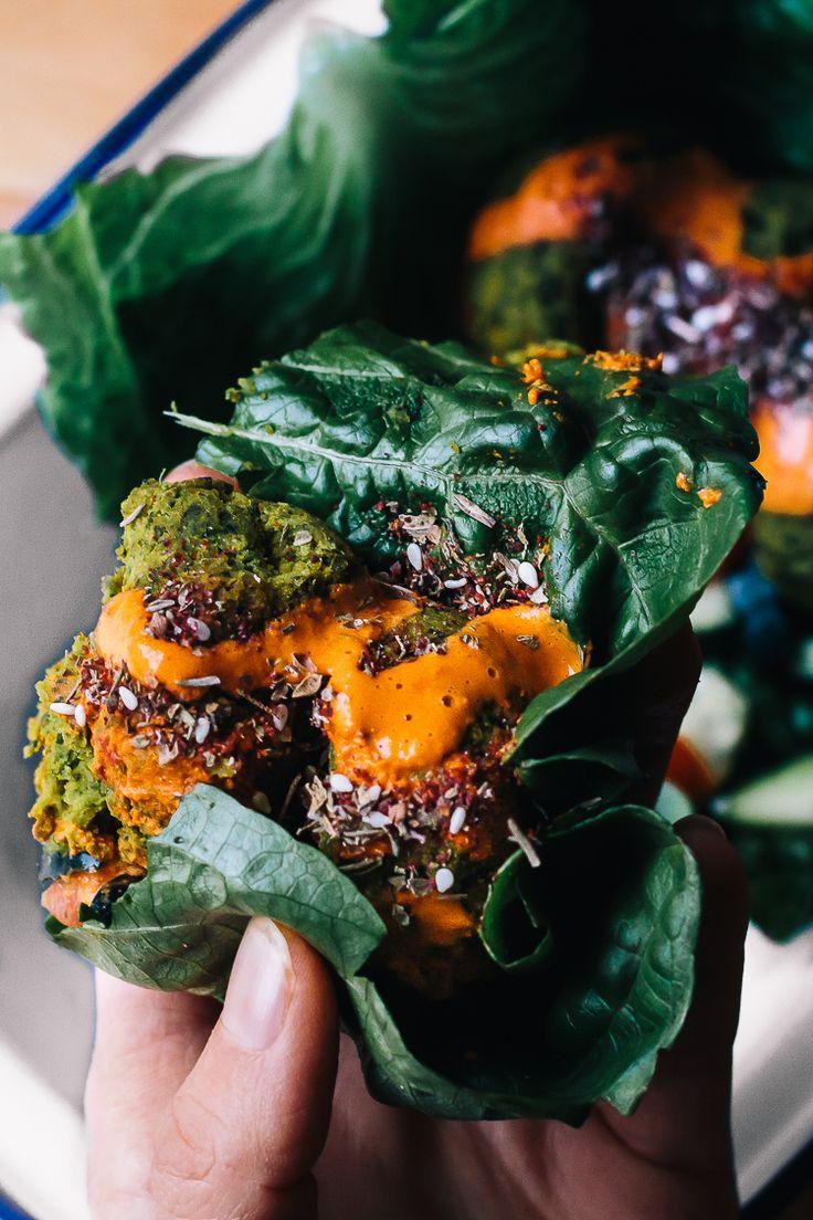 Vegan Turmeric Falafel And Harissa Tahini In A Romaine Lettuce Leaf Wrap / Faring Well