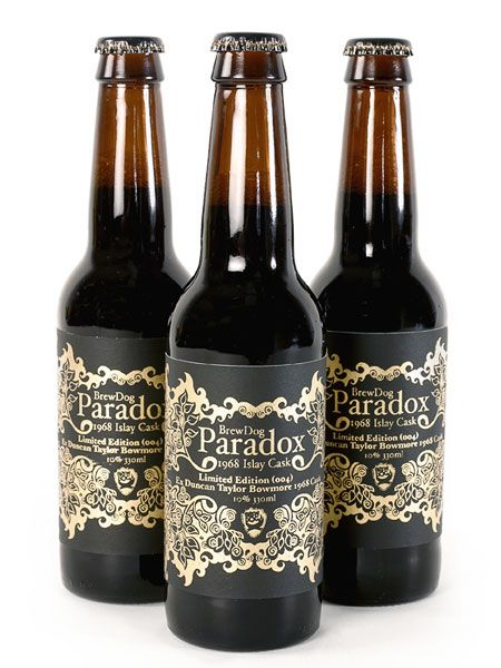 BrewDog Paradox ~ Silk screen printed labels for Scottish Brewery BrewDog's first anniversary special edition beer, Paradox. Hand printed in gold lacquer on black. - Johanna Basford