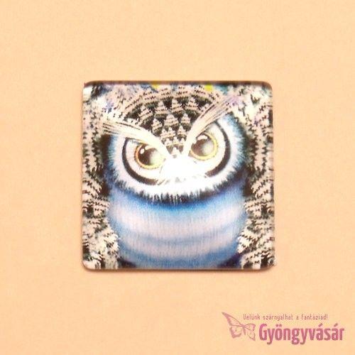 Kék bagoly mintás, négyzet alakú, 25 mm-es üveglencse • Gyöngyvásár.hu
