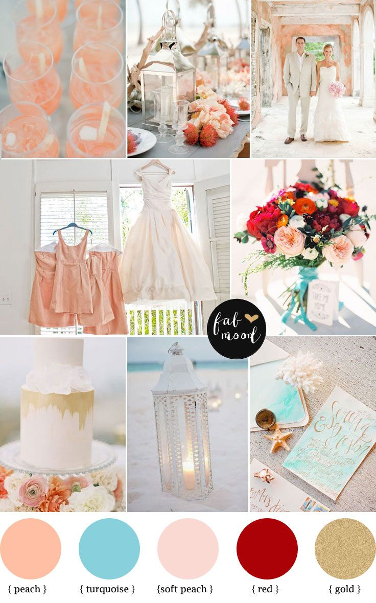 Peach and Turquoise Wedding Colour Palette { Beach wedding } | http://www.fabmood.com/peach-and-turquoise-wedding/