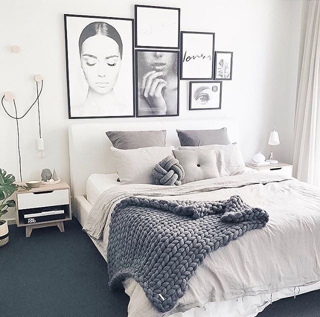 how gorgeous is customer bedroom restyle featuring our light grey button cushion monochrome perfection white bedroom