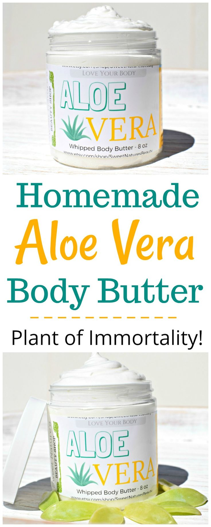 This homemade Aloe Vera body butter is great for dry skin, sunburns, and rashes. Made with shea butter, coconut oil, & essential oils for all natural beauty. Homemade body lotion for dry skin.