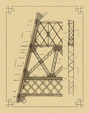 Original blueprints Eiffel Tower | La Tour de 300 mètres, Ed. Lemercier, Paris 1900.
