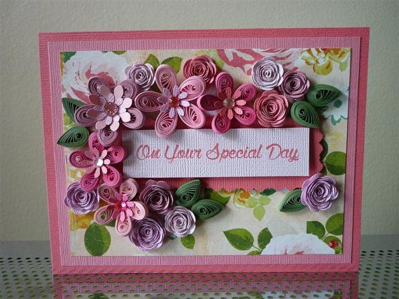 Handmade Paper Quilled Pink Greeting Card Quot On Your Special