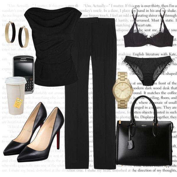 """Anastasia Steele's All Black SIP Work Outfit"" by bigbadbrookie on Polyvore"