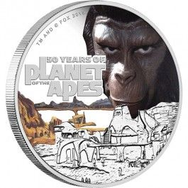 2018 Planet Of The Apes 50th Anniversary 1oz Silver Proof Coin  Direct Coins is excited to offer this impressive Planet of the Apes 50th anniversary coin.  Released in 1968, Planet of the Apes is a ground-breaking movie which, in the tradition of great science fiction, reflects conflicts and questions in our own society.