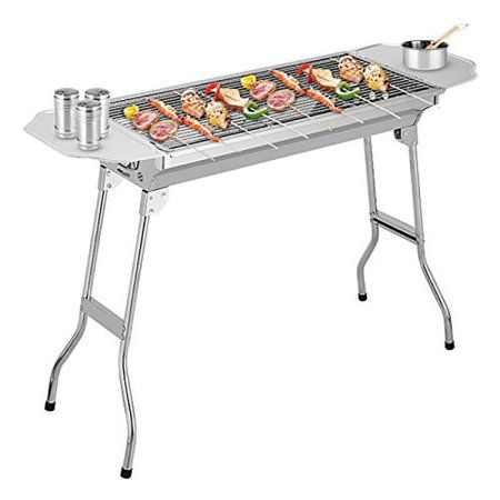 $70 - Cooligg Portable Folding Charcoal Gas BBQ Grill Set Stainless Steel Barbecue Grill for Outdoor Picnic Camping Cooking, Nice Weekend - Walmart.com